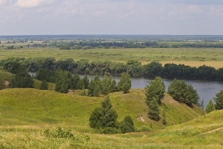 View of the Oka River near the village of Konstantinovo, Ryazan Region, Russia Standard-Bild - 111287740