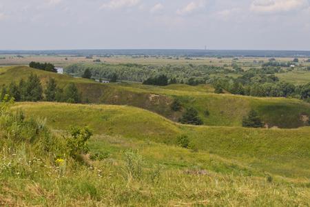 View of the Oka River near the village of Konstantinovo, Ryazan Region, Russia Standard-Bild - 111287771