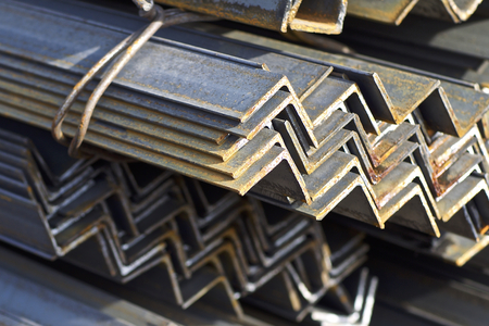 Metal profile angle in packs at the warehouse of metal products, Russia