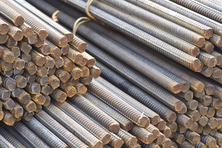 Reinforcing bars with a periodic profile in the packs are stored in the metal products warehouse, Russia