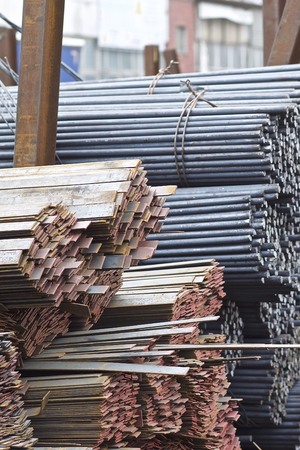 Metal profiles of different kinds are located in the metal products warehouse, Russia
