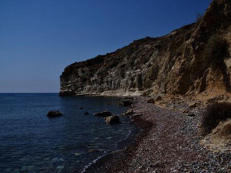 View of the coast of the resort of Pissouri, Cyprus, Mediterranean Sea Фото со стока