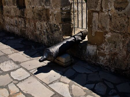 Ancient cannons of defense weapons in the old fortress, the island of Cyprus