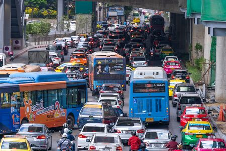 BANGKOK, THAILAND %u2013 December 1, 2019 : Traffic congestion at afternoon during in front of Central Department store Ladprao branch shopping center and business commercial area capital of Bangkok, Thailand