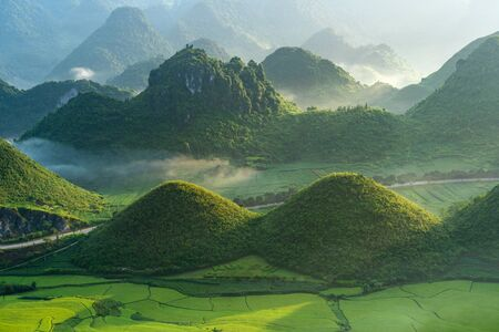 Beautiful rice paddy field of Fairy bosom or Twin Mountains, Nui Doi, or Double Mountains is the travel destination and famous place in Tam Son town, Quan Ba, Ha Giang, Vietnam