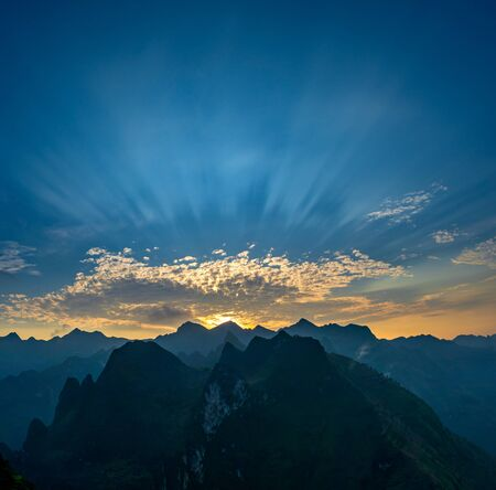 Beautiful sunrise scenery of Ma Pi Leng pass during trip Meo Vac and Dong Van town, located at the most northern point in Ha Giang the most popular travel destinations of Northern Vietnam
