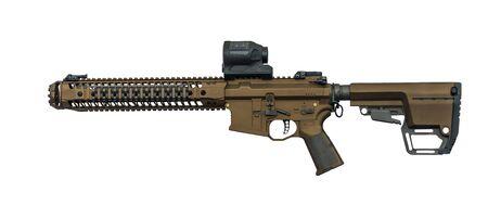 Modern automatic machine gun isolated