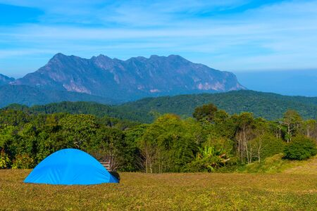 Beautiful campsite with Doi Luang Chiang Dao Mountain in Chiang Mai province Thailand. The second highest mountain in Northern Thailand Фото со стока