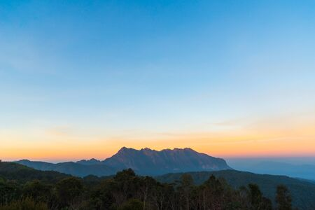 Beautiful Sunset at campsite with Doi Luang Chiang Dao Mountain in Chiang Mai province Thailand. The second highest mountain in Northern Thailand