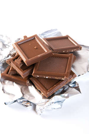chocolate block on white background photo