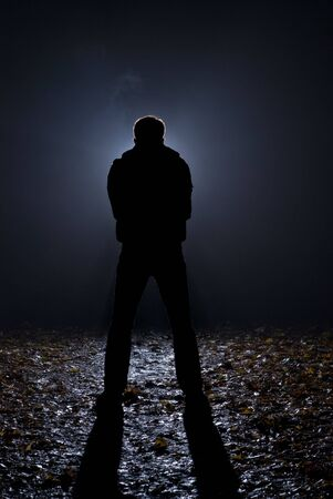 crime: At dark night on a wood the maniac follows girls