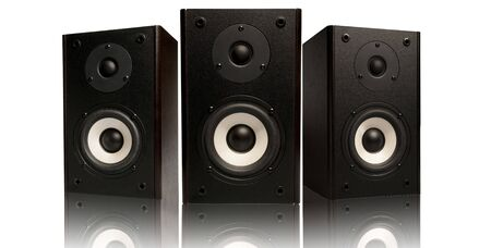 three stereo speaker on white background Stock Photo - 3687837