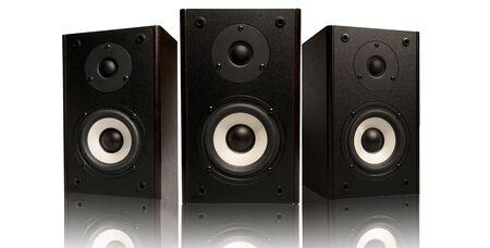 three stereo speaker on white background Stock Photo - 3687837