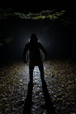 lupo mannaro: Siluette dell'uomo nella foresta, la notte Archivio Fotografico