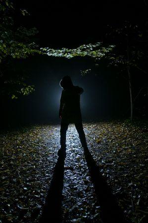 lupo mannaro: Siluette dell'uomo nella foresta, nella notte Archivio Fotografico