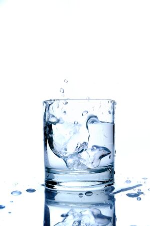 Glass of splashing water