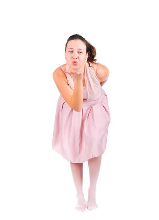 flying kiss: female model posing with flying kiss Stock Photo