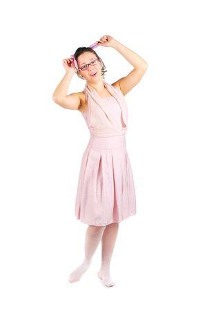 mujer con corbata: joven empate en un arco Foto de archivo