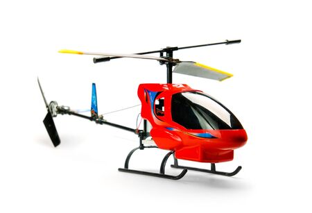 airscrew: Toy helicopter over white background Stock Photo