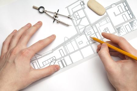 architecture blueprint & tools Stock Photo - 5118786