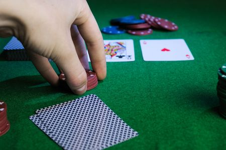 Player hold poker chips