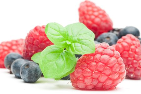 Fresh berries with mint photo
