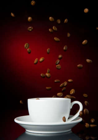 cup of coffe on color background photo