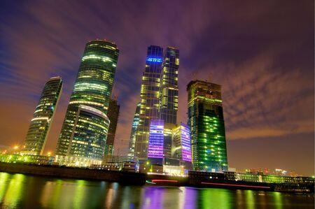 High Dynamic Range photo of skyscrapers in Moscow photo