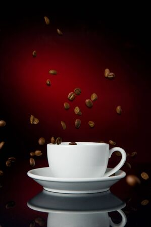 cup of coffe on color background Stock Photo - 6086830