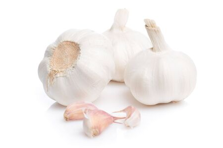 Fresh garlic isolated on white photo