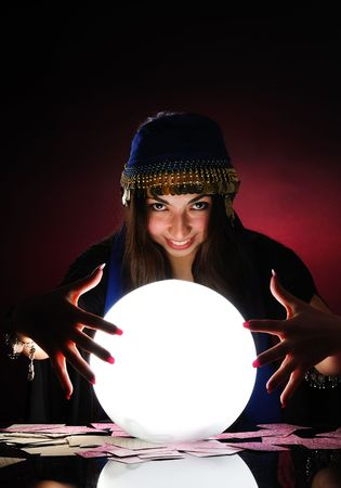 gypsy woman: Fortuneteller at work