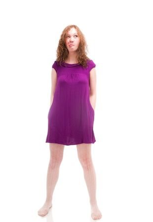 Stubborn woman isolated on white photo