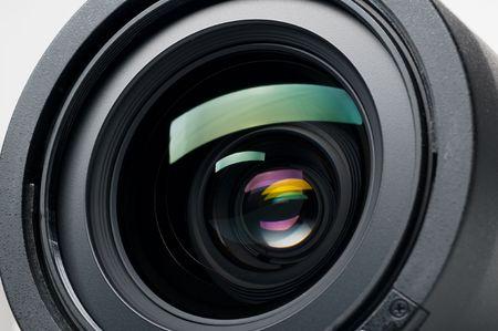 shutter aperture: Isolated camera lens Stock Photo