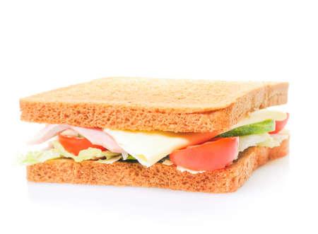 Fresh sandwich isolated on white photo