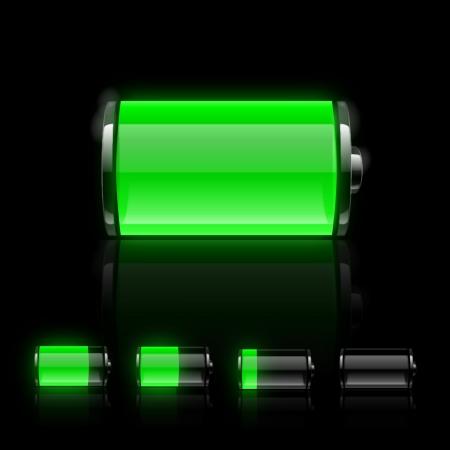 Zestaw ikon baterii błyszczący  Ilustracje wektorowe