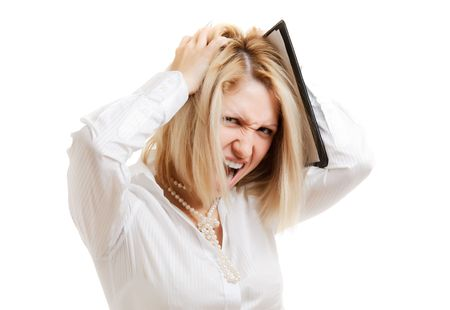 picture of stressed businesswoman, isolated on white Stock Photo - 6637874