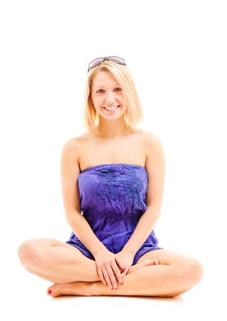 portrait of beautiful blonde girl isolated over white Stock Photo - 6637847