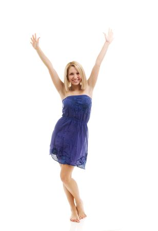 arms wide: Happy young woman. Isolated over white.