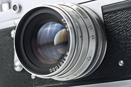 rangefinder: vintage camera isolated on white