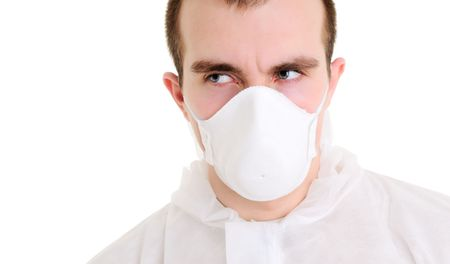respiratory apparatus: Man with respirator Isolated over white.