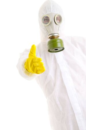 toxins: Man in protective suit gesturing welcome. Stock Photo