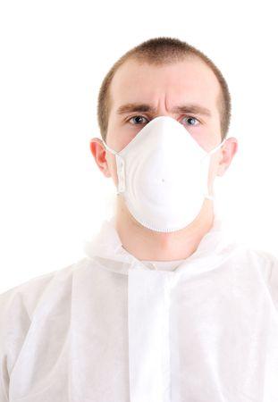 Homme avec respirateur isolée sur blanc.