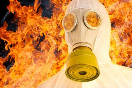 gasmask: Man in gasmask. Isolated over white.
