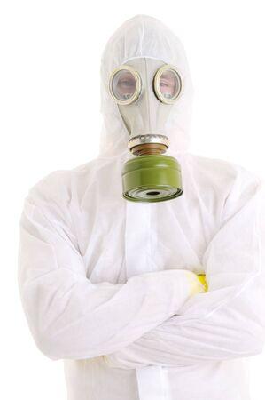 gasmask: Uomo con gasmask. Isolato over white.