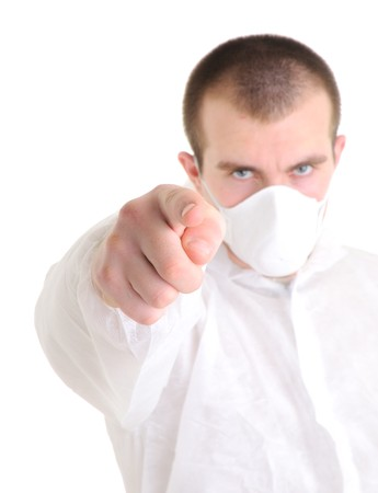 respiratory apparatus: Man pointing at you. Stock Photo