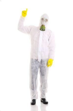 gasmask: Man with gasmask. Isolated over white. Stock Photo