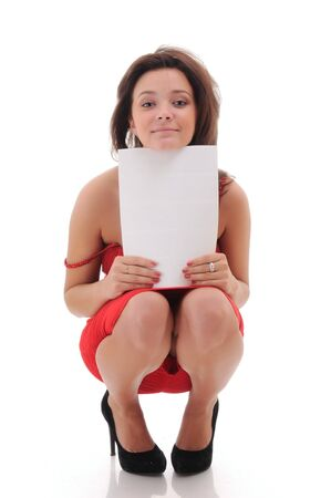Sexy woman with blank doc. isolated over white. photo