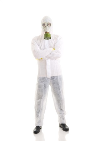 respiratory apparatus: Man in  protective wear, isolated over white. Stock Photo