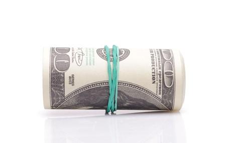 fake money: Roll of fake money isolated on white Stock Photo