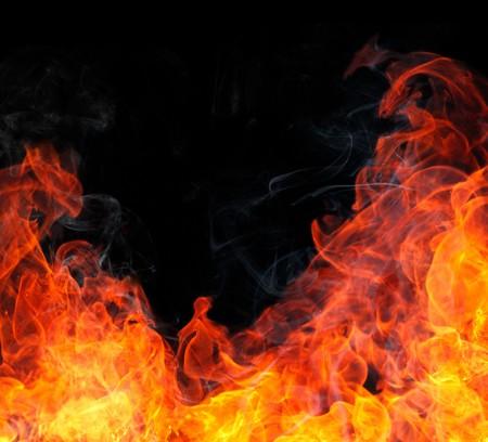 Fire flame with smoke. photo